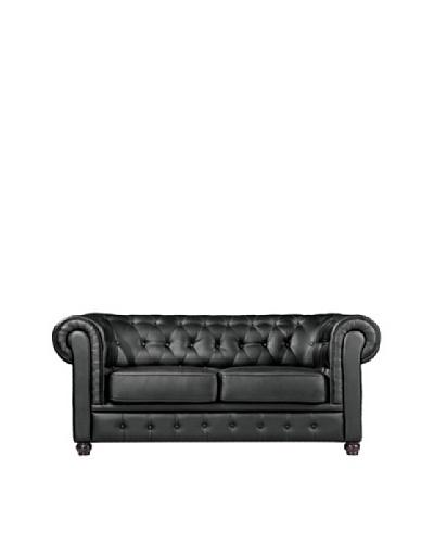 Manhattan Living Chestfield Leather Loveseat, Black