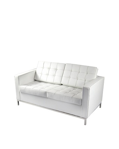 Manhattan Living Leather Button Loveseat, White