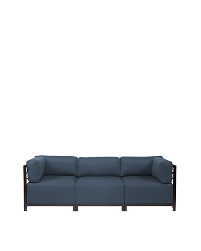 Marley Forrest Sterling Indigo Axis 3-Piece Sectional, Mahogany Frame