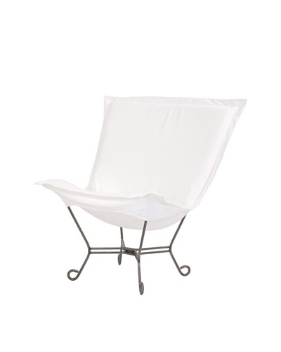 Marley Forrest Starboard Natural Scroll Puff Chair, Titanium Frame