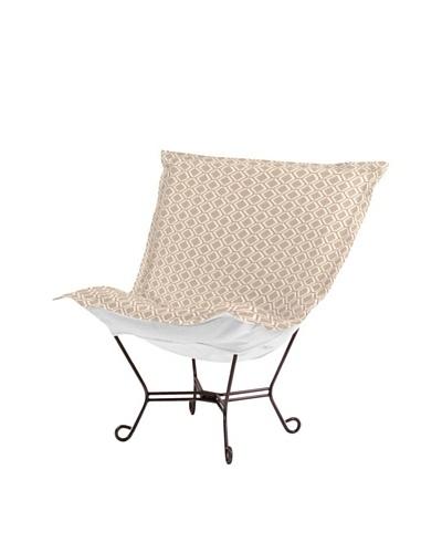 Marley Forrest Geo Stone Scroll Puff Chair, Mahogany Frame