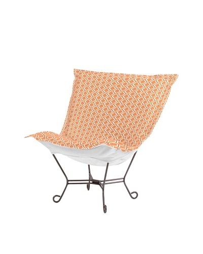 Marley Forrest Geo Tangerine Scroll Puff Chair, Titanium Frame