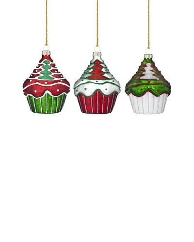 Marquis by Waterford Christmas Cupcake Ornaments, Set of 3