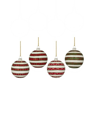 Marquis by Waterford Holiday Stripes Ball, Set of 4