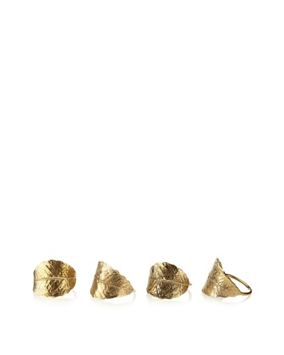 Matahari Set of 4 Gold Leaf Napkin Rings