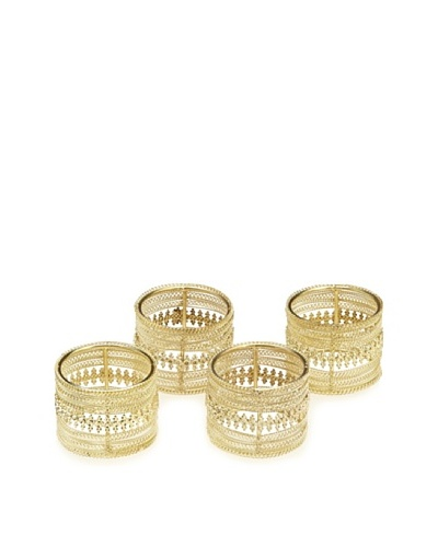 Matahari Set of 4 Napkin Rings with Iron/Gold Beading