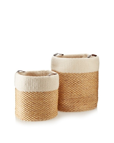 Matahari Set of 2 Water Hyacinth/Cotton Cylinders