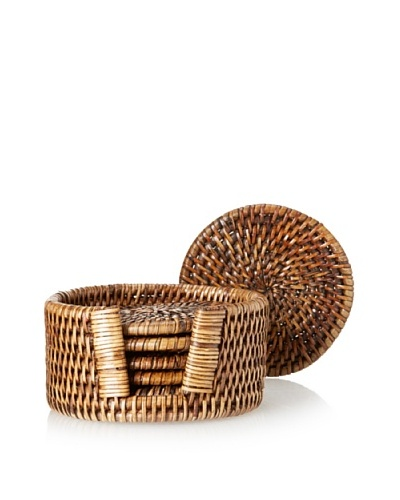 Matahari Set of 6 Round Handwoven Coaster Holder