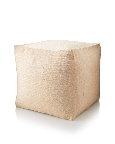 Matahari Handmade Indoor/Outdoor Cube Stool, Solid Cream