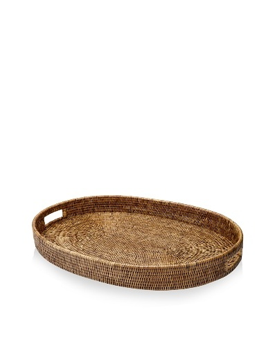 Matahari Handwoven Oval Tray with Handles