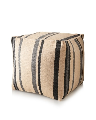 Matahari Handmade Indoor/Outdoor Cube Stool, Black/Cream Stripe