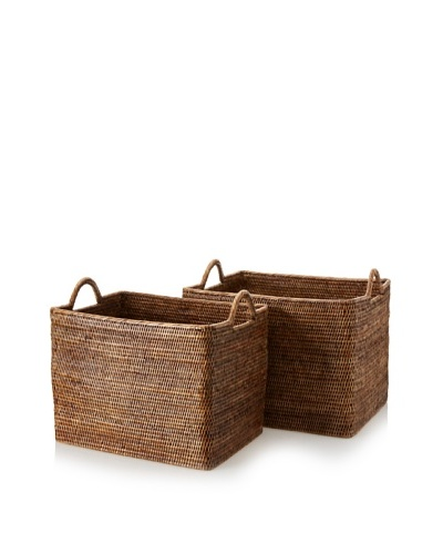 Matahari Set of 2 Handwoven Baskets with Loop Handles