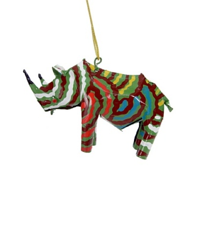 Mbare Painted Tin Rhino Ornament