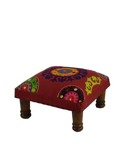 Mélange Home Suzani Embroidered Choki Footstool, Red