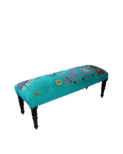 Mélange Home Suzani Embroidered Bench, Turquoise