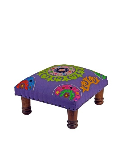 Mélange Home Suzani Embroidered Choki Footstool, Purple