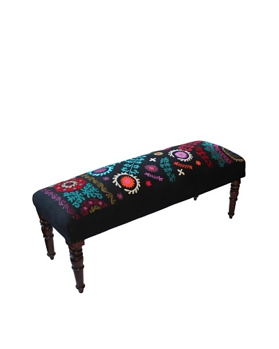 Mélange Home Suzani Embroidered Bench, Black