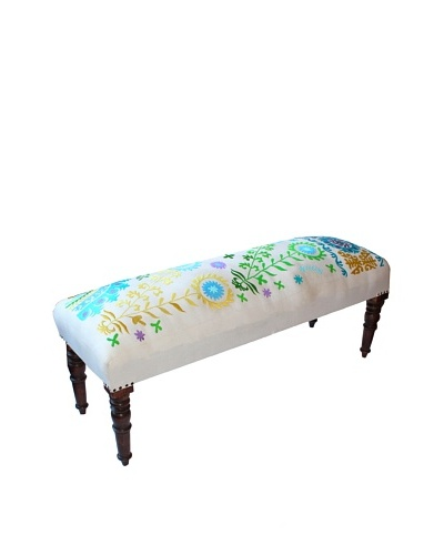 Mélange Home Suzani Embroidered Bench, CreamAs You See