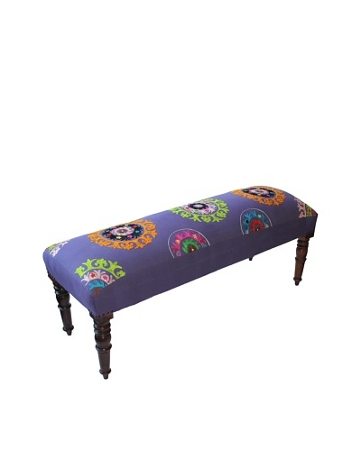 Mélange Home Suzani Embroidered Bench, PurpleAs You See