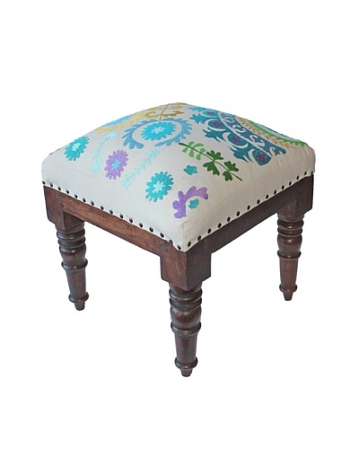 Mélange Home Suzani Embroidered Stool, Cream