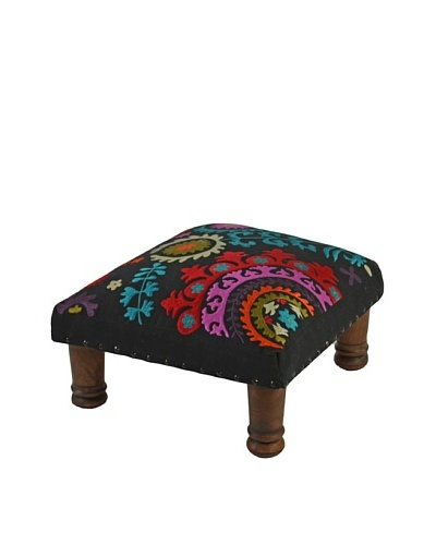 Mélange Home Suzani Embroidered Choki Footstool, BlackAs You See