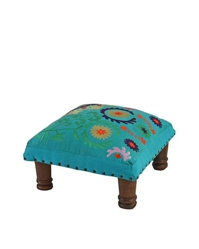 Mélange Home Suzani Embroidered Choki Footstool, Turquoise