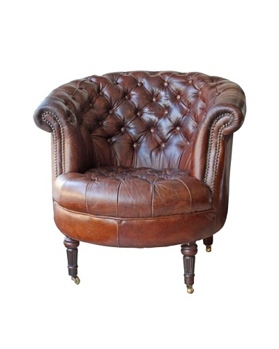 Mélange Home Barrell Leather Armchair, Vintage Brown