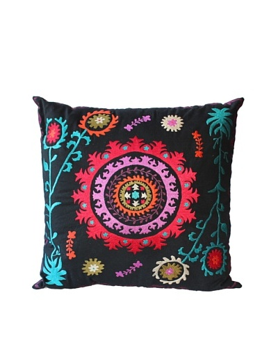 Mélange Home Suzani Embroidered Euro Square Pillow, BlackAs You See