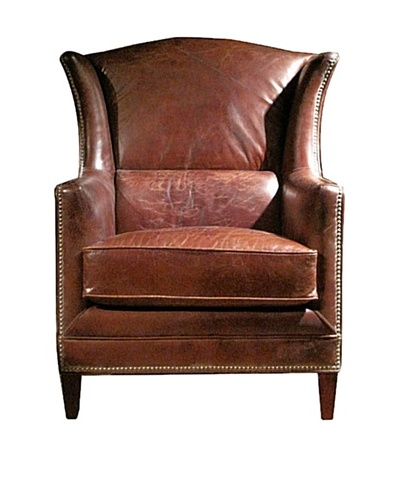 Mélange Home Deconstructed Leather Wing Armchair, Whiskey Brown