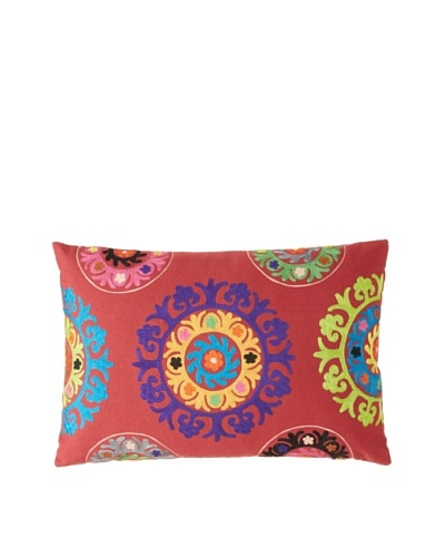Mélange Home Suzani Embroidered Oblong Pillow, RedAs You See