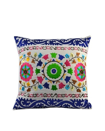 Mélange Home Suzani Embroidered Square Pillow, CreamAs You See