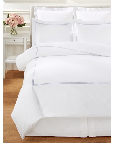 Mélange Home 2-Stripe Embroidered Duvet Cover Set [Amethyst]
