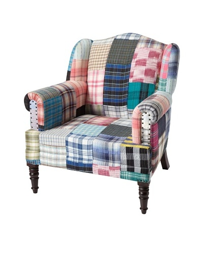 Mélange Home Bengali One of A Kind Silk Ikat Chair, Multi