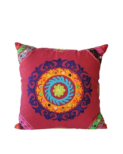 Mélange Home Suzani Embroidered Euro Square Pillow, RedAs You See