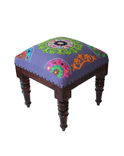 Mélange Home Suzani Embroidered Stool, Purple