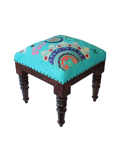 Mélange Home Suzani Embroidered Stool, Turquoise
