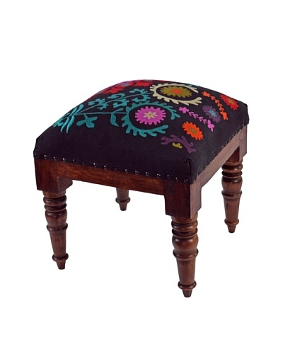 Mélange Home Suzani Embroidered Stool, Black