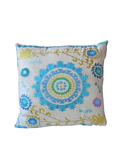 Mélange Home Suzani Embroidered Euro Square Pillow, CreamAs You See