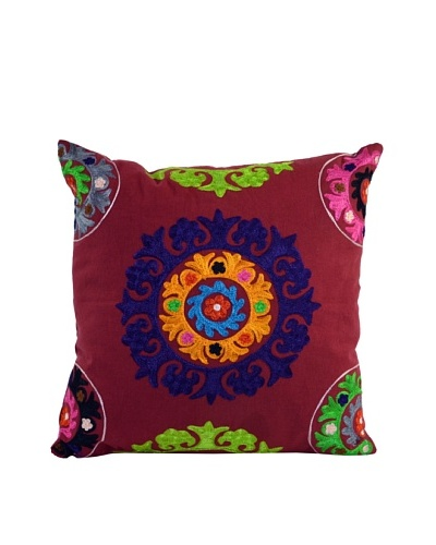 Mélange Home Suzani Embroidered Square Pillow, RedAs You See
