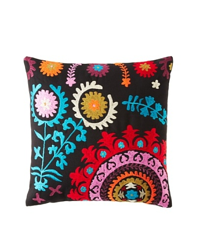 Mélange Home Suzani Embroidered Square Pillow, BlackAs You See