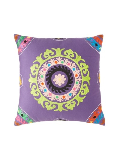 Mélange Home Suzani Embroidered Euro Pillow, Purple