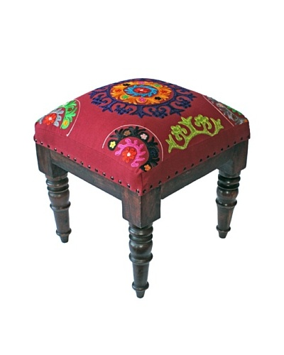 Mélange Home Suzani Embroidered Stool, Red