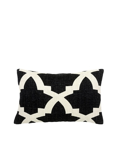 Mela Artisans Ava Silk Lumbar Pillow, Black