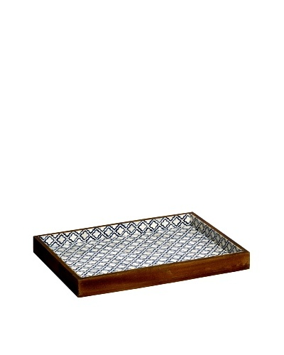 Mela Artisans Eternal Twilight Decorative Tray, Blue/White/Brown