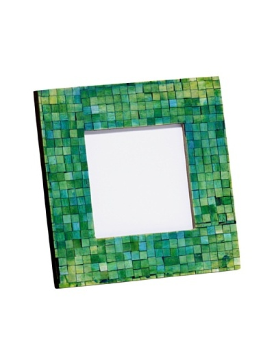 "Mela Artisans Handcrafted Inlaid Bone Photo Frame, Green/Turquoise, 4"" x 4"""