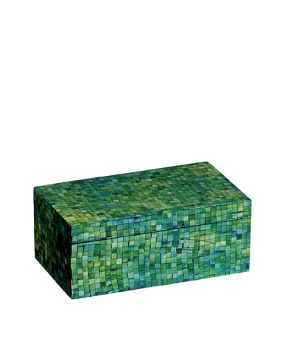 Mela Artisans Handcrafted Inlaid Bone Trinket Box, Green/Turquoise
