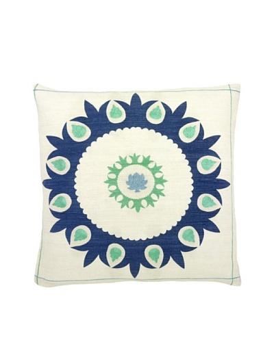 Mela Artisans Hand-woven Sabah Silk Pillow, Blue