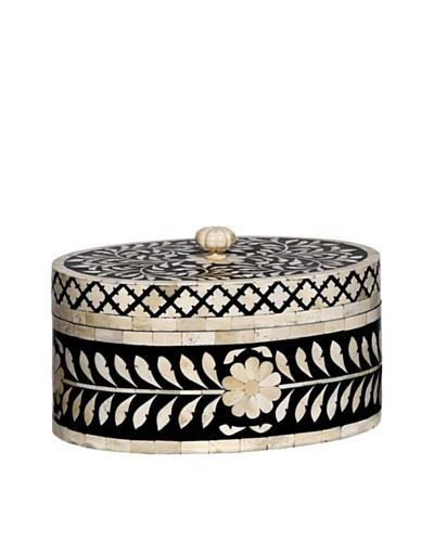 Mela Artisans Imperial Beauty Round Box, Black/White