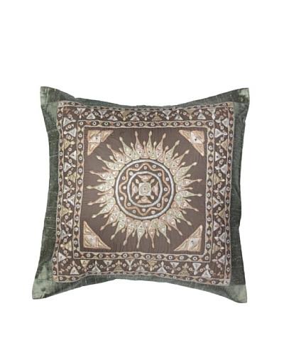 Mela Artisans Surya Silk Embellished Cushion Cover, Grey/Blue
