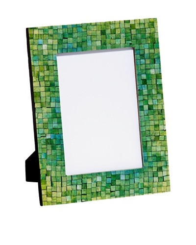 Mela Artisans Handcrafted Inlaid Bone Photo Frame, Green/Turquoise, 5 x 7